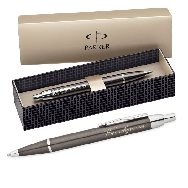 Parker IM Kugelschreiber inkl. Gravur mit Geschenkbox ( Farbe - Metall grau )