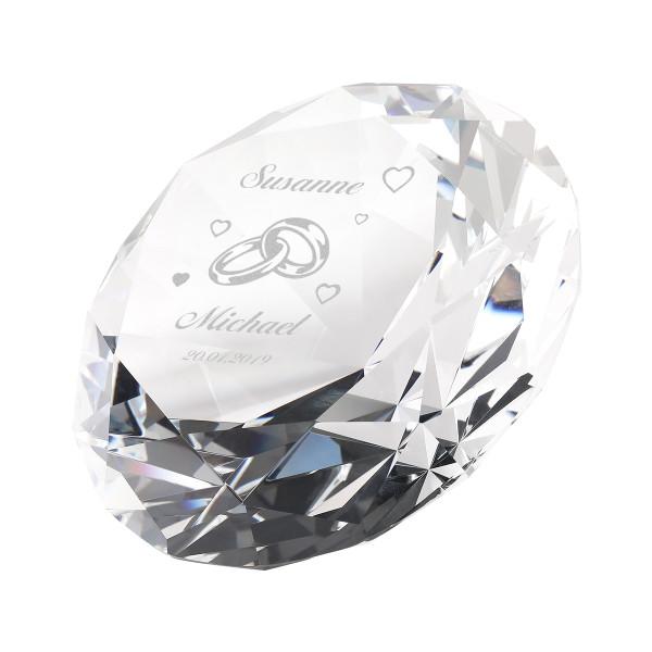 Diamant aus Glas 10x10cm mit Personalisierung