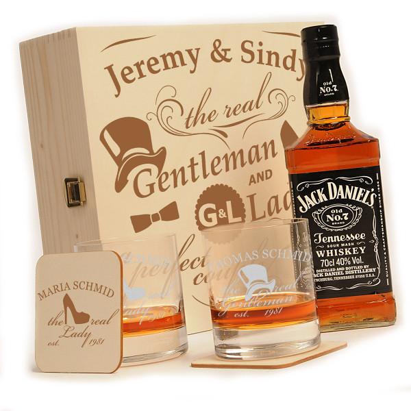 """Jack Daniels 6-tlg. Whisky Geschenkset inkl. Gravur """"Gentleman and Lady"""""""