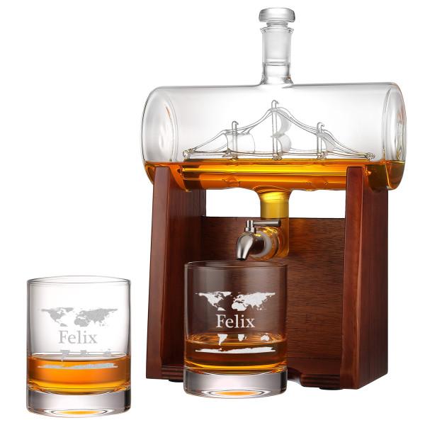 Personalisiert Whisky-Dekanter 1000ml mit Segelschiff 2 Whiskygläser 320ml und Holzständer