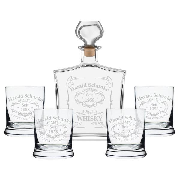 5-tlg. Whisky Geschenkset Flasche 4x Gläser inkl. Gravur Quality Whisky