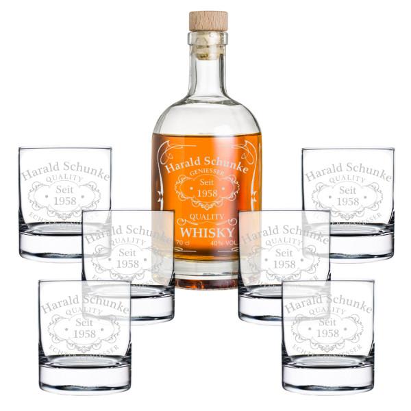 7-tlg. Whisky Geschenkset Flasche 6x Gläser inkl. Gravur