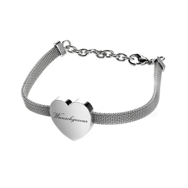 Edelstahlarmband silber mit Herzanhänger mit Geschenketui inkl. Wunschgravur