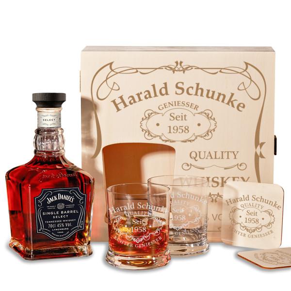 """Jack Daniel's 6-tlg. Whisky Geschenkset inkl. Gravur """"Quality Whiskey"""""""