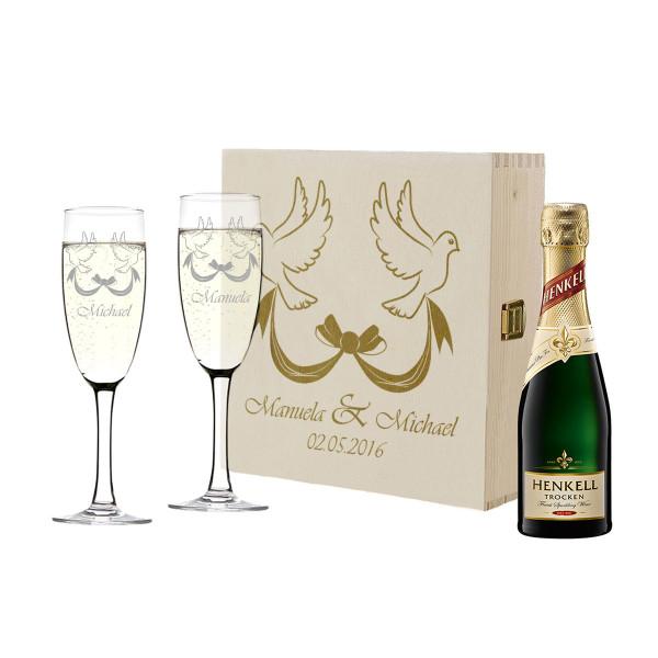 Geschenkset personalisiert mit Sektflasche und Gläser