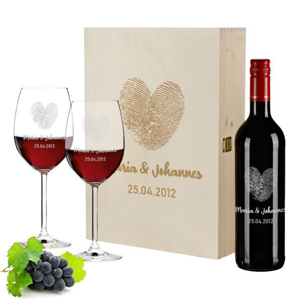 Geschenkset Wein mit personalisierter Gravur